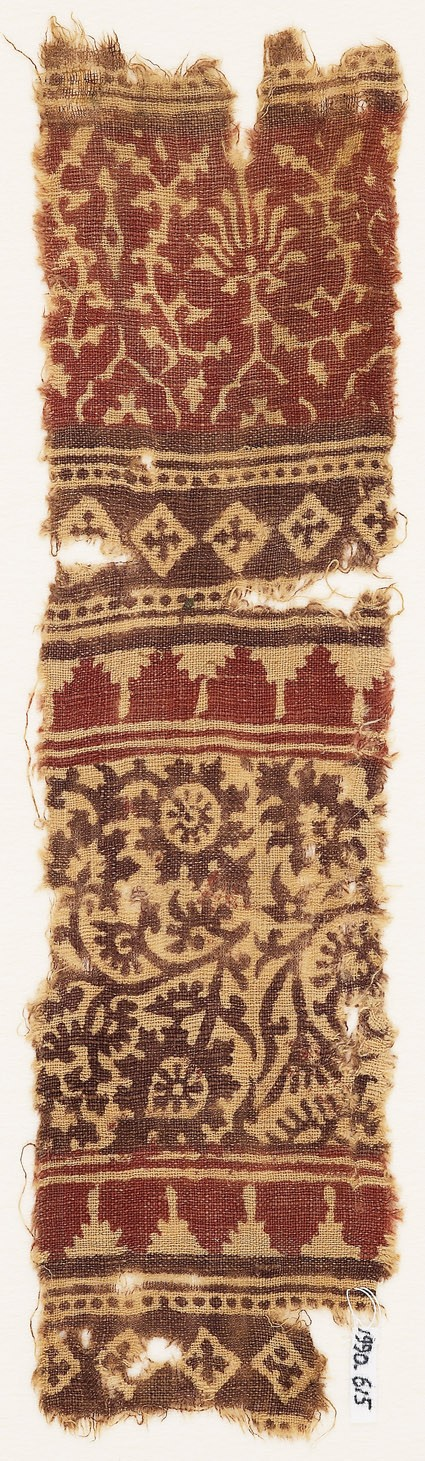 Textile fragment with stylized plants, tendrils, and flower-heads