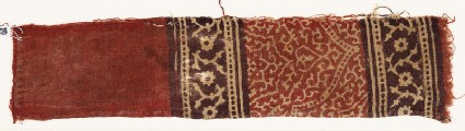 Textile fragment with half-medallion, tendrils, and rosettes