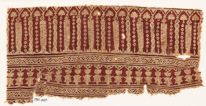 Textile fragment with arches, columns, and flower-heads