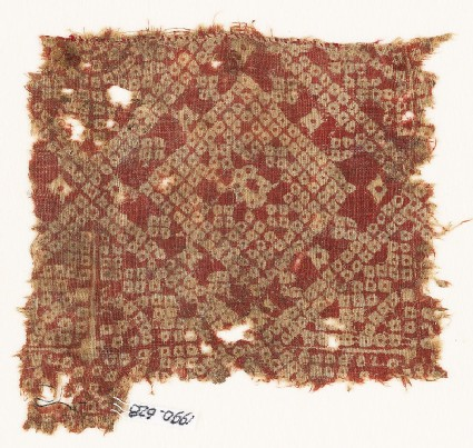 Textile fragment imitating bandhani, or tie-dye, with squares