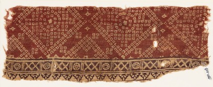 Textile fragment with crosses, rosettes, and bandhani, or tie-dye, imitation