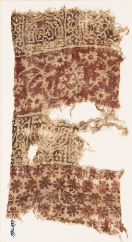 Textile fragment with arches, rosettes, and crossed tendrils