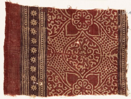 Textile fragment with medallions, tendrils, quatrefoils, and rosettes
