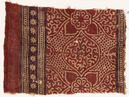 Textile fragment with medallions, tendrils, quatrefoils, and rosettes