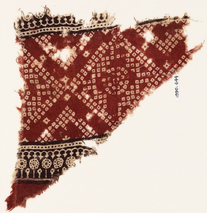 Textile fragment with squares, arches, and bandhani, or tie-dye, imitation
