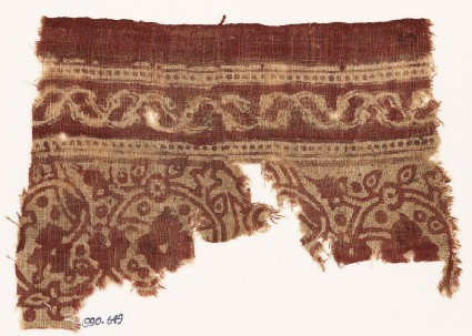 Textile fragment with flower-heads, rosettes, and interlacing vines