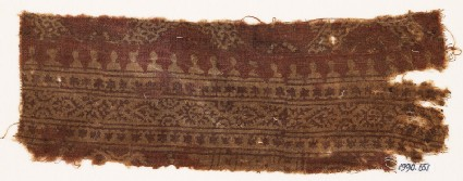 Textile fragment with bands of stars, hearts, circles, and crenellations