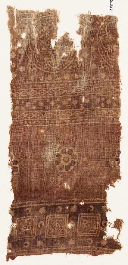 Textile fragment with squares, rosettes, and dotted circles