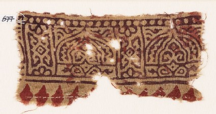 Textile fragment with arches and floral designs