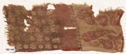 Textile fragment with leaves, flowers, plants, and circles