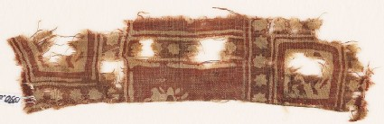 Textile fragment with squares, stars, and griffins
