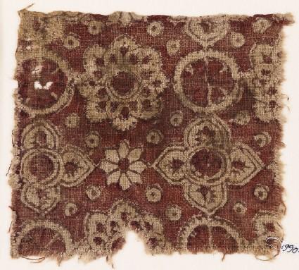 Textile fragment with rosettes, circles, and quatrefoils