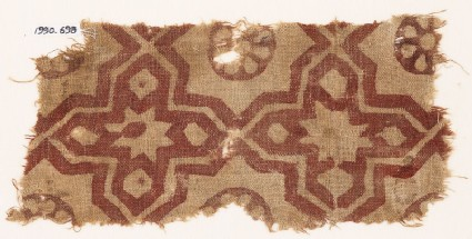 Textile fragment with four-pointed stars