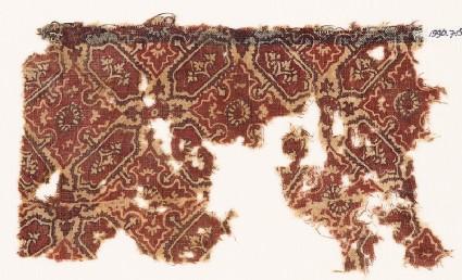 Textile fragment with quatrefoils and cartouches