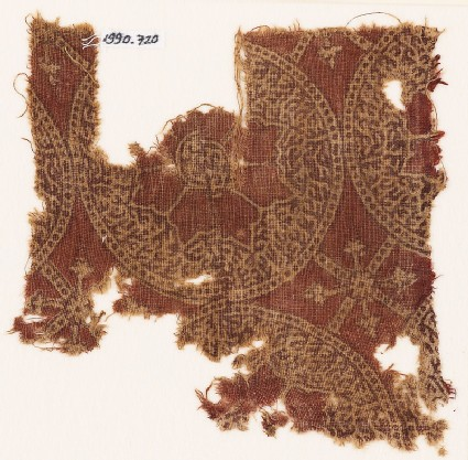Textile fragment with circles, rosettes, and tendrils