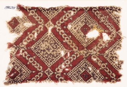 Textile fragment with squares, tendrils, and crosses