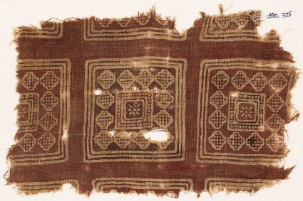 Textile fragment possibly imitating patola pattern, with squares, rosettes, and diamond-shapes