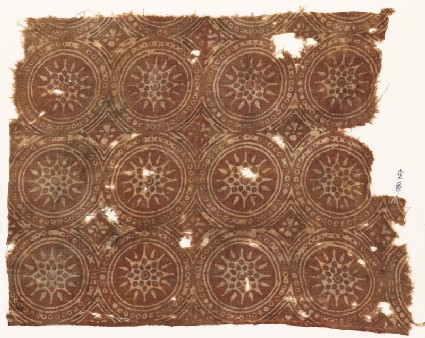 Textile fragment with linked circles and stars
