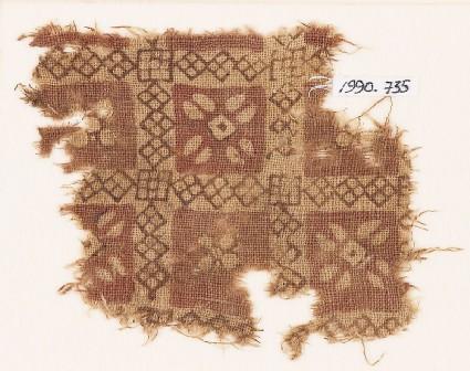 Textile fragment with grid and quatrefoils
