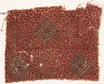Textile fragment with medallions and tendrils