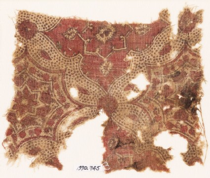 Textile fragment with linked medallions and stars