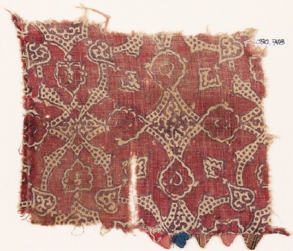 Textile fragment with flowers and dotted tendrils