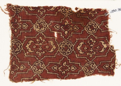Textile fragment with lobed cartouches and rosettes