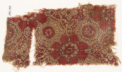Textile fragment with quatrefoils, flowers, and stars