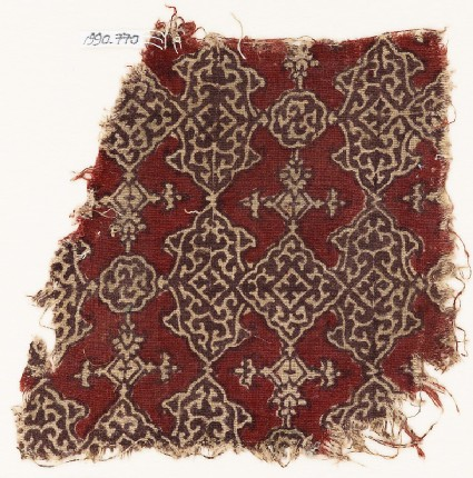 Textile fragment with cartouches, squares, and lobed medallions