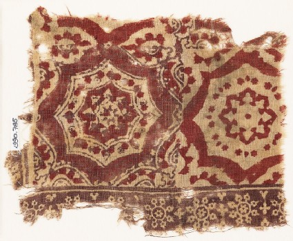 Textile fragment with large medallions, rosettes, and snowflakes