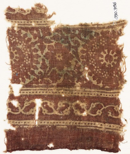 Textile fragment with rosettes, leaves, and stems