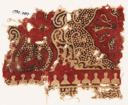 Textile fragment with plant design