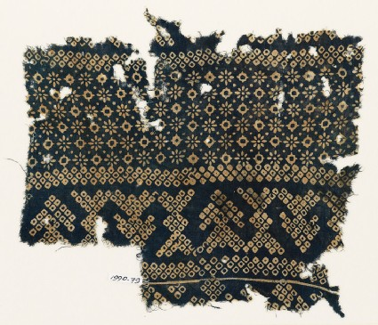 Textile fragment with rosettes, lobed squares, and bandhani, or tie-dye, imitation