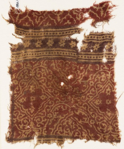 Textile fragment with medallions, quatrefoils, and rosettes