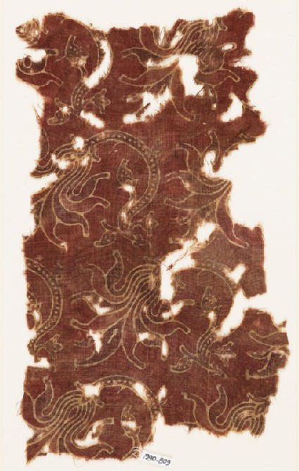 Textile fragment with tendrils and flowers