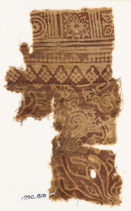 Textile fragment with leaves, squares, and rosettes