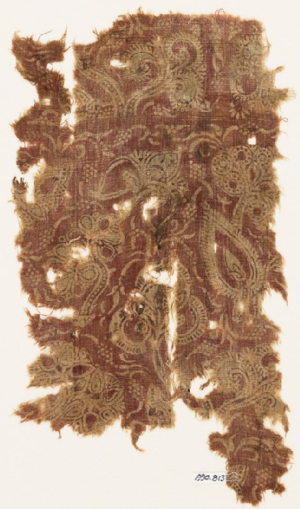 Textile fragment with flowers, leaves, and berries