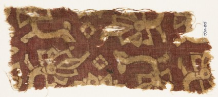 Textile fragment with stylized flowers or trees