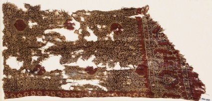 Textile fragment with tendrils, star-shaped flowers, and oval medallions