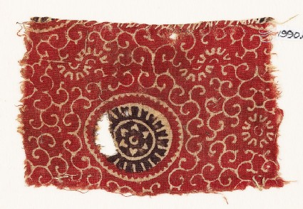 Textile fragment with large rosette and tendrils
