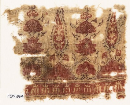 Textile fragment with stylized trees and flower-heads