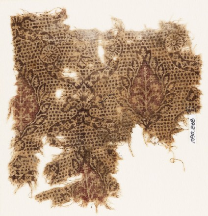 Textile fragment with interlace, flowers, and leaves
