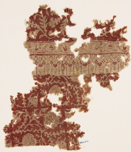Textile fragment with flowers and plants