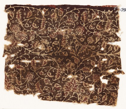 Textile fragment with tendrils and flowers, possibly from a garment
