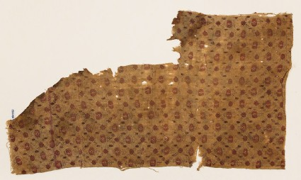Textile fragment with grid of flowers