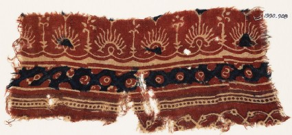 Textile fragment with bands of flowers, palmettes, and circles