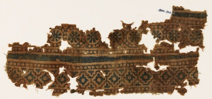 Textile fragment with rosettes and stepped diamond-shapes