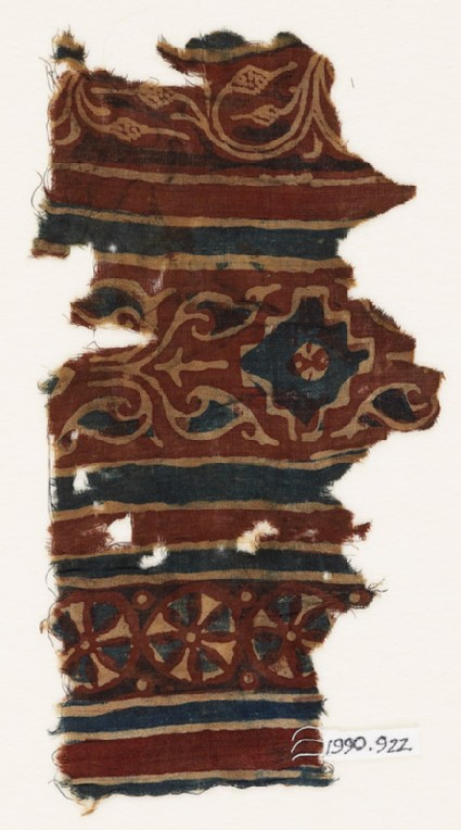 Textile fragment with stepped diamond-shape and vegetal pattern