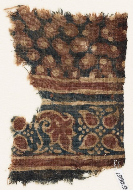 Textile fragment with leaves and dots