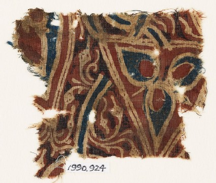 Textile fragment with stylized flower